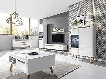 Mb Moebel Moderne Wohnwänd Wohnzimmer Skandinavische Möbel Schrankwand Mit  LED Weiß Hochglanz Riviera Eiche Egon