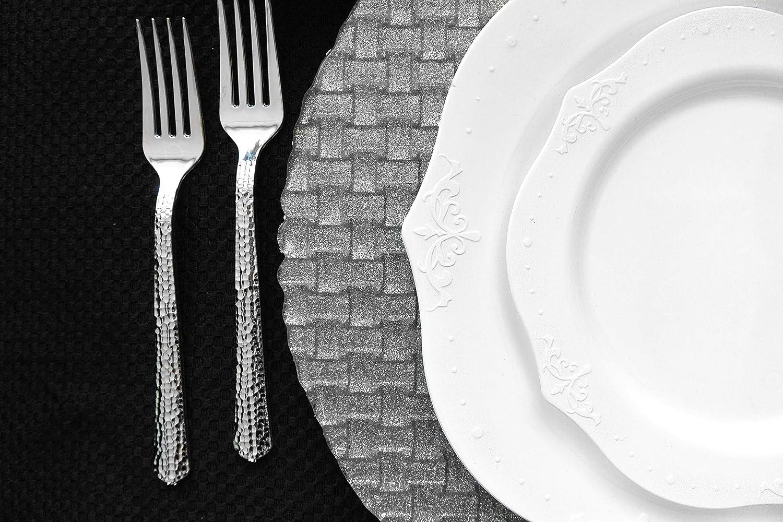 20 Pezzi Decorline- Piatti da Dessert 19 cm -Stoviglie plastica Deluxe -USA e Getta Antique Collection Color Bianco- Plastica Rigida