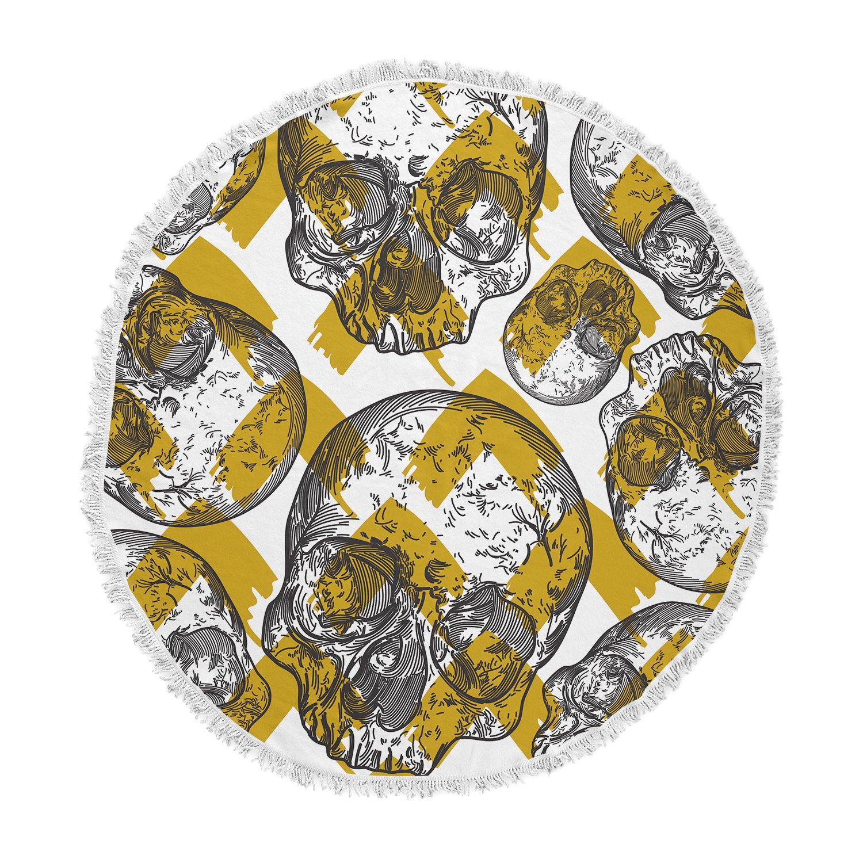 Kess InHouse Sam Posnick Modern Punk Skull Pattern Black Gold Illustration Round Beach Towel Blanket