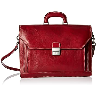 Alberto Bellucci Men's Italian Leather Triple Compartment Laptop Briefcase, Red, One Size