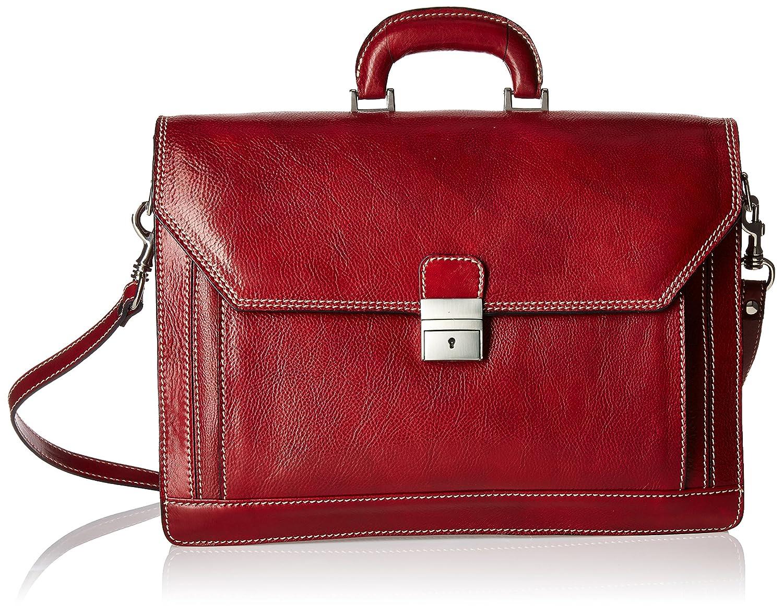 Image of Alberto Bellucci Italian Leather Triple Compartment Laptop Briefcase Luggage