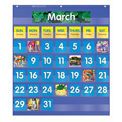 Amazon com monthly calendar pocket chart classroom pocket charts