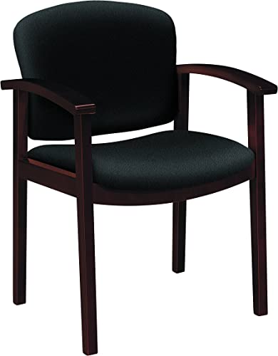 HON 2111 Single Rail Arm Mahogany Guest Chairs, Black