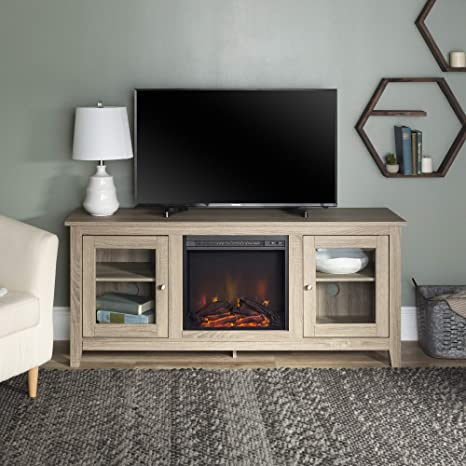 Walker Edison Az58fp4dwag Traditional Wood Fireplace Tv Stand For Tv S Up To 64 Living Room Storage 58 Inch Grey Brown Furniture Decor
