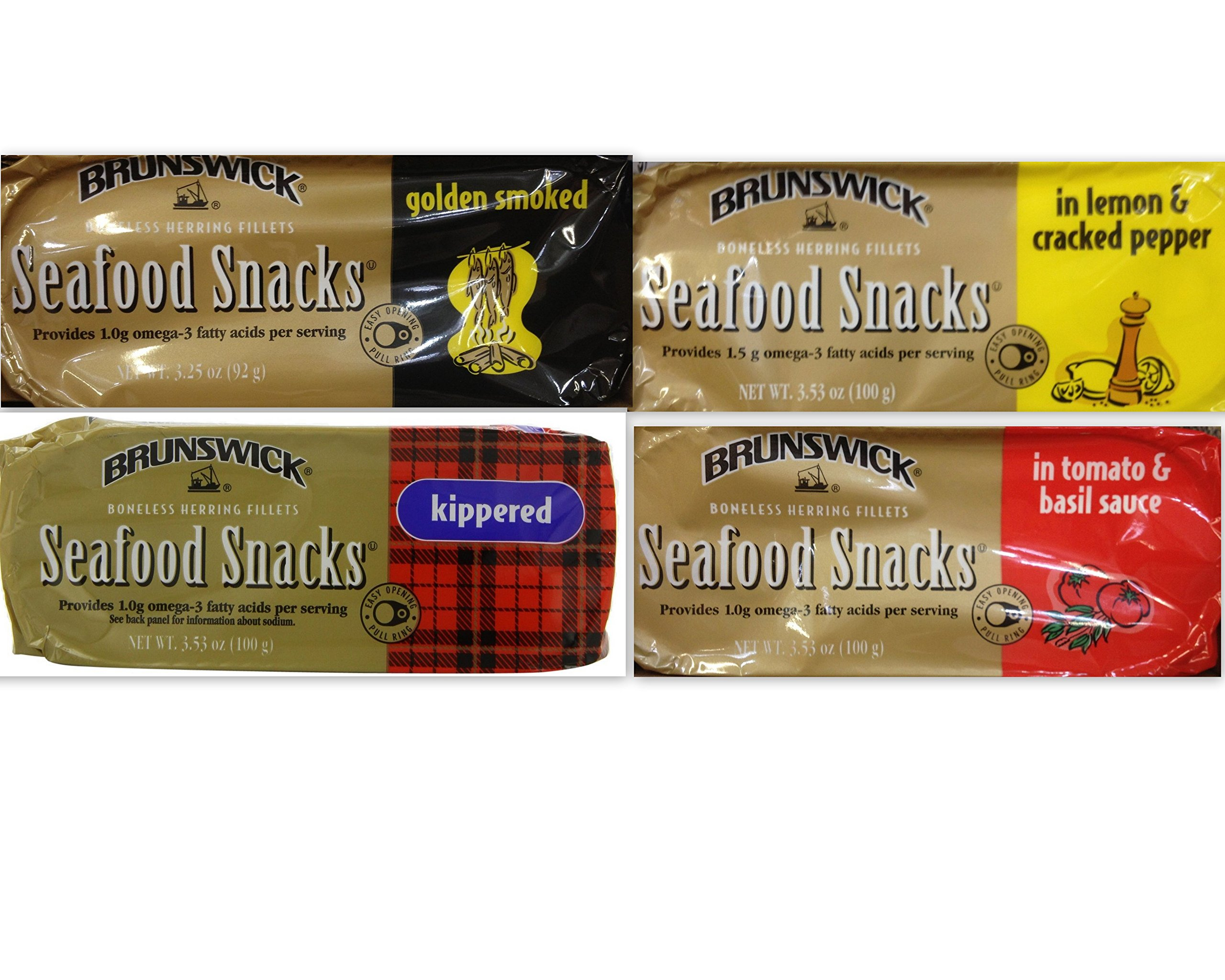 Brunswick Seafood Snacks Variety Bundle, 3.53 oz (Pack of 4) includes 1-Pack Kippered Fillets + 1-Pack Fillets in Tomato & Basil Sauce + 1-Pack Golden Smoked Fillets + 1-Pack Fillets in Lemon & Cracked Pepper