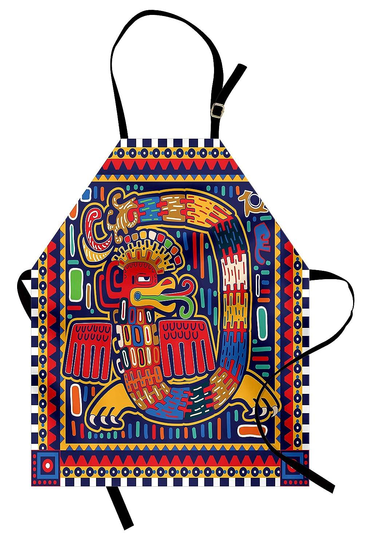 lunarable Mexicanエプロン、アステカパターンエスニックカラフル文化Mythologyアートワーク古代蛇、ユニセックスキッチン調節可能なネックよだれかけエプロンfor Cooking Bakingガーデニング、インディゴマスタードオレンジ   B077P728QX