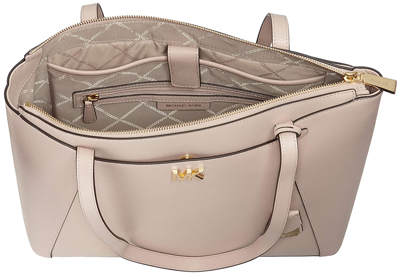 b2cad0708414 Michael Kors Maddie Medium Crossgrain Leather Tote, Women's Pink (Soft Pink),  12.7x27.3x38 cm (B x H T): Amazon.co.uk: Shoes & Bags