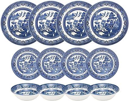 Churchill Blue Willow 12 Piece Dinner Set  sc 1 st  Amazon.com & Amazon.com | Churchill Blue Willow 12 Piece Dinner Set: Dinnerware Sets