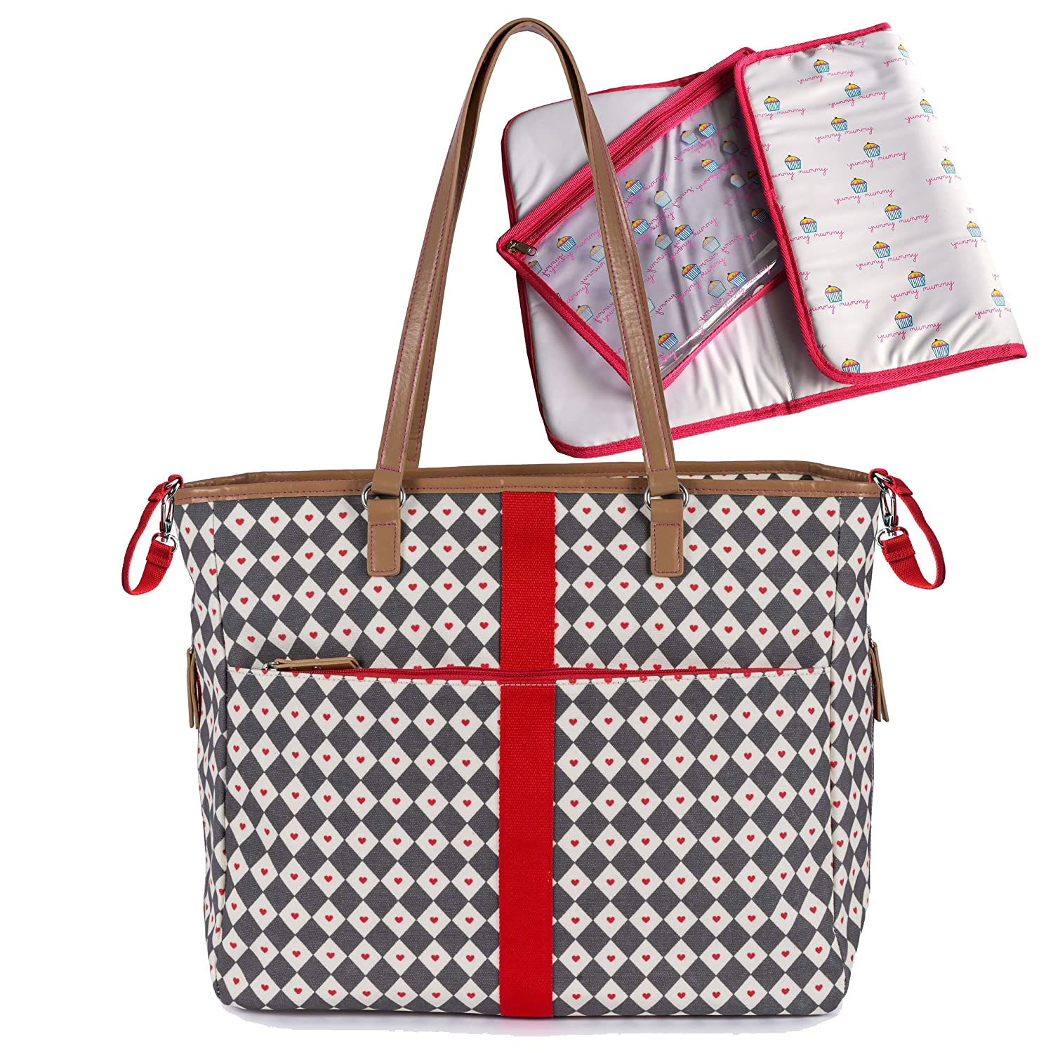 Pink Lining Henrietta Tote Diamonds and Hearts Changing Bag