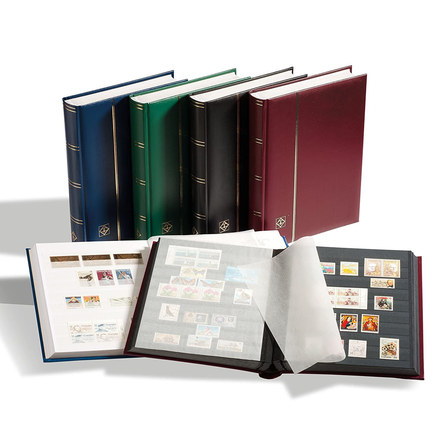 Leuchturm stockbooks comfort | quality stamp-album, padded binding in leather Look, 32or 64 DINA4pages Leuchtturm LP4/32BL