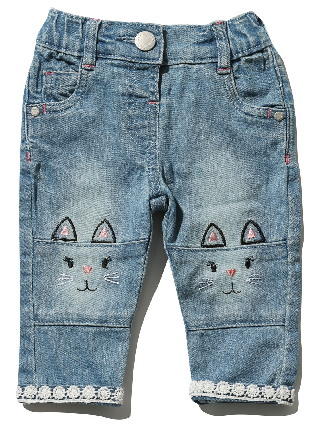 M&Co Baby Girl Cotton Rich Light Wash Cat Embroidery Knee Patch Crochet Lace Trim Stretch Waistband Jeans