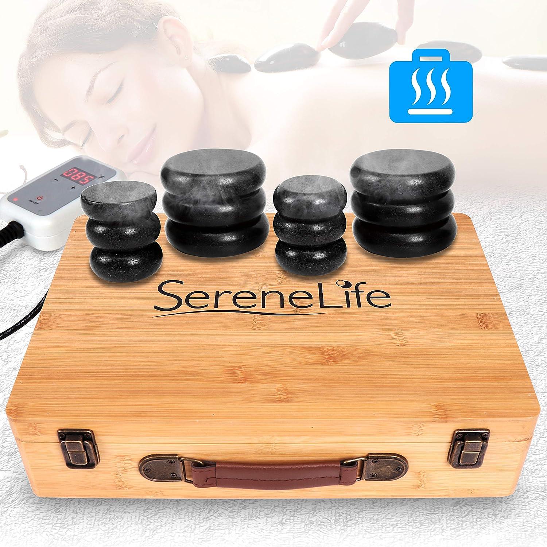 Massage Stone Heater Box Set - Electric Spa Portable Heated Rocks Massage Stones and Warmer Set - Heat Rock Massaging Kit 12 Large Small Black Stone Set w/Bamboo Heating Case - SereneLife PSLMSGST65