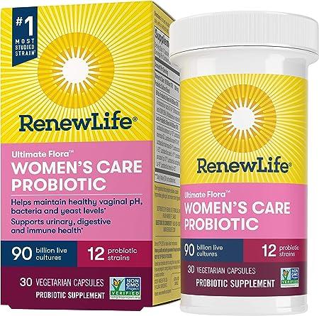 Renew Life Women's Probiotics 90 Billion CFU Guaranteed, 12 Strains, Shelf Stable, Gluten Dairy & Soy Free, 30 Capsules, Ultimate Flora Women's Care-60 Day Money Back Guarantee