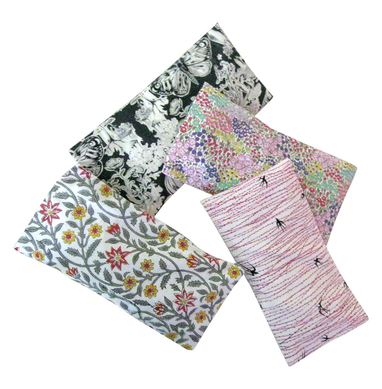 Aromatherapy Eye Pillow - Bundle of (4) - 4.5 x 9 - Organic Lavender Chamomile Flax Cotton - Removable Cover Washable - pink gray black birds flowers Hunki Dori