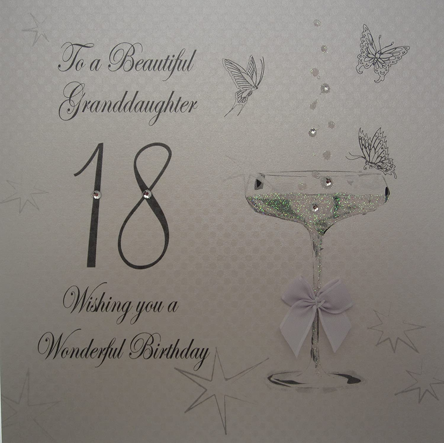 "White Cotton Cards Coupe Glass ""To A Beautiful Granddaughter 18"