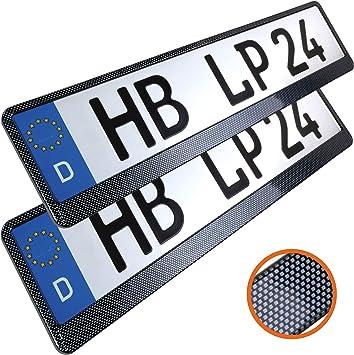 L P Car Design L P A163 2 Stk Kennzeichenhalter Auto Nummernschildhalter Carbon Kennzeichenhalterung Auto