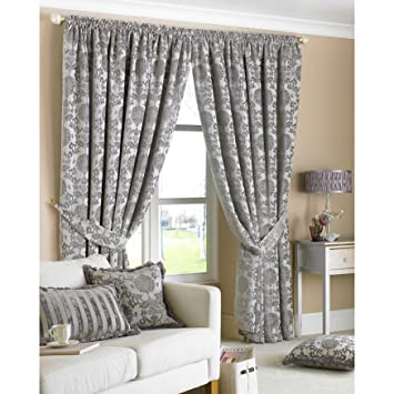 Hanover Silver Curtains 90 x 90 inch drop, Fully Lined, Damask ...