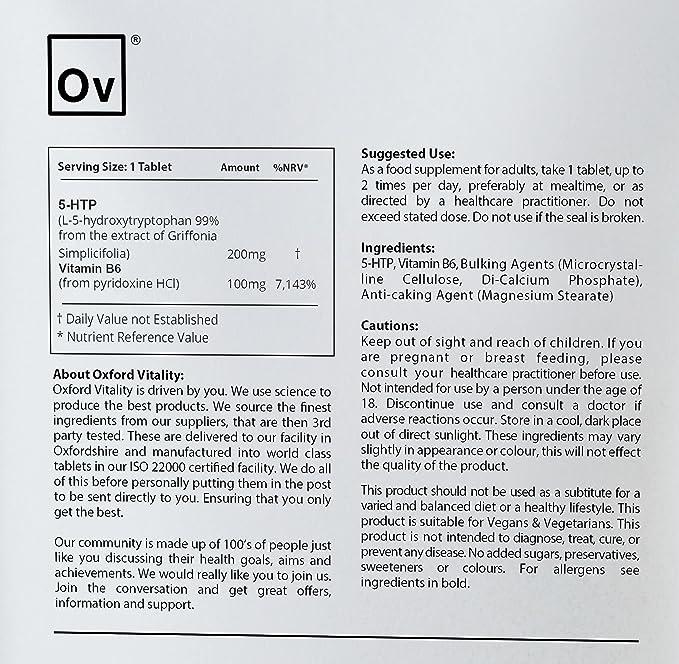 5-HTP 200 mg tabletas | Con vitamina B6 100mg | Suplemento para el control del sueño, el estado de ánimo y el apetito | Oxford Vitality: Amazon.es: Salud y ...