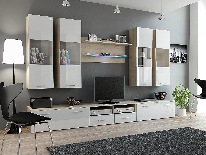BMF Dream I Modern Hochglanz Wall Entertainment Unit/TV Ständer/Unterschrank, hängend, perfekt für Wohnzimmer/Schlafzimmer/Studio flach–geeignet für Plasma/LED/LCD/OLED Fernseher. Sonoma Oak/White