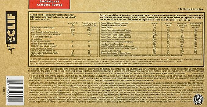Clif Bar Barrita Energética de Avena y Chocolate con Almendras, (pack con 12 x 68 g): Amazon.es: Alimentación y bebidas
