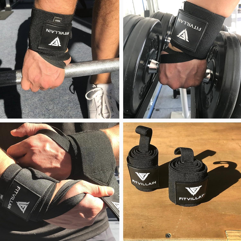 Muñequeras de Crossfit para Levantamiento de Pesas - Wrist Wraps - Gimnasio Power Lifting Kettlebell Fitness Gym Ejercicio Deporte - Soporte Compresivo ...