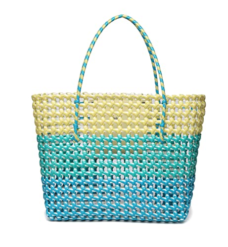 7ea42a1ad Handmade Weaved Large PE Summer Beach Bag with Inner Pocket By Daisy Rose-  Blue/