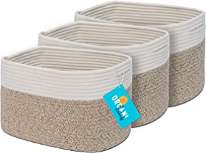 OrganiHaus 3-Pack Cotton Rope Cube Storage Baskets, Decorative Living Room , Bedroom, Closet, Home Organizing bin, Shelf and Table Top Decor, Woven Rustic Farmhouse Design Small Basket - Brown