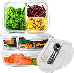 Glass Meal Prep Containers 3 Compartment with Cutlery Set | Glass Lunchbox | 3 Pack 36 Oz | 97% Less Plastic Packaging | BPA-Free lids | Glass Divided Lunch Container | Glass Portion Control Container