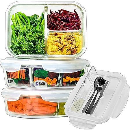 Home Planet® Recipientes de Cristal para Alimentos con 3 Compartimentos y Cubiertos (1050ml X 3) | Libre de BPA Tapa | Tupperware para Microondas | ...