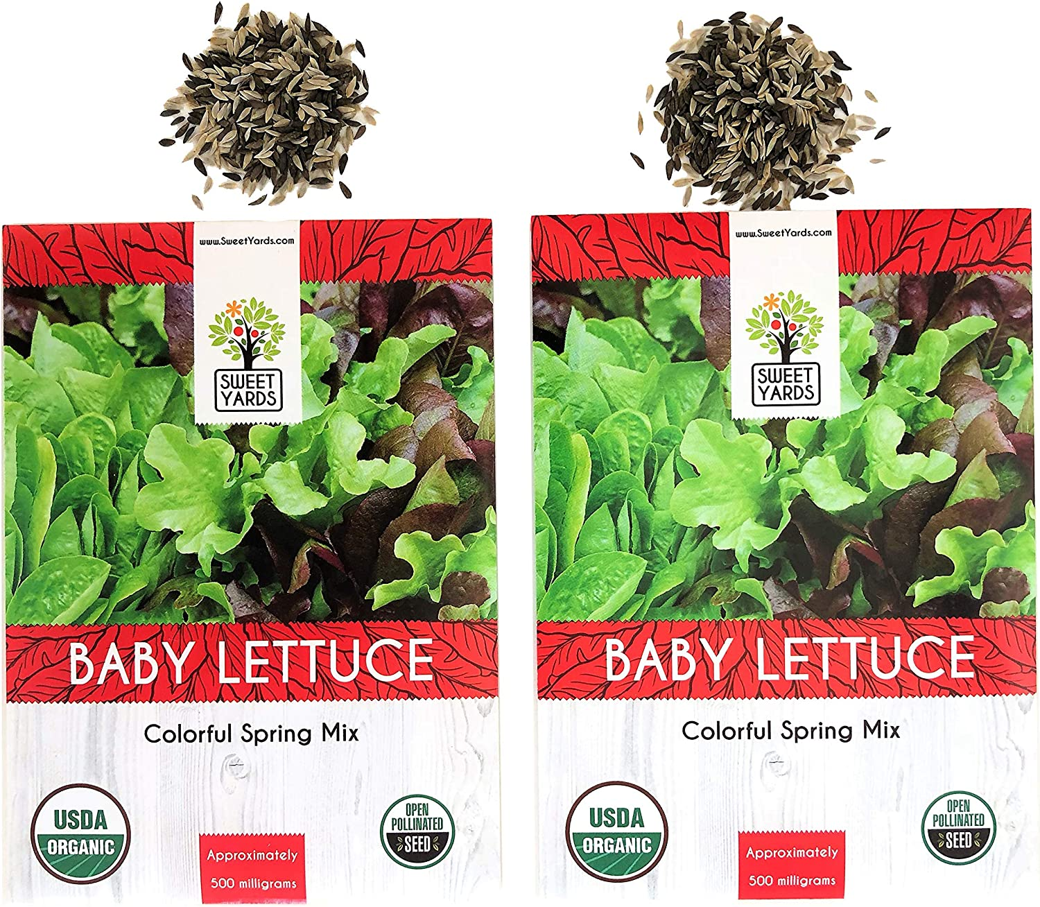 Colorful Spring Mix - 2 Seed Packets! Baby Leaf Lettuce Seeds Over 1000 Open Pollinated Non-GMO USDA Organic Seeds
