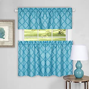 Achim Home Furnishings Colby Window Curtain Tier Pair and Valance Set, 58