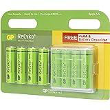 GP Batteries Recyko+ 2700 AA Kalem Ni-MH Şarjlı Pil, 1.2 Volt, 8'li Kart, Yeşil/Siyah