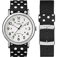 Timex TW2P86600 Reloj para Mujer, Colección Weekender, Correa de Nylon, Caja de Metal Análogo, Cuarzo
