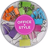 Office+Style Colored Binder Clips, Assorted Size, 26 Pieces