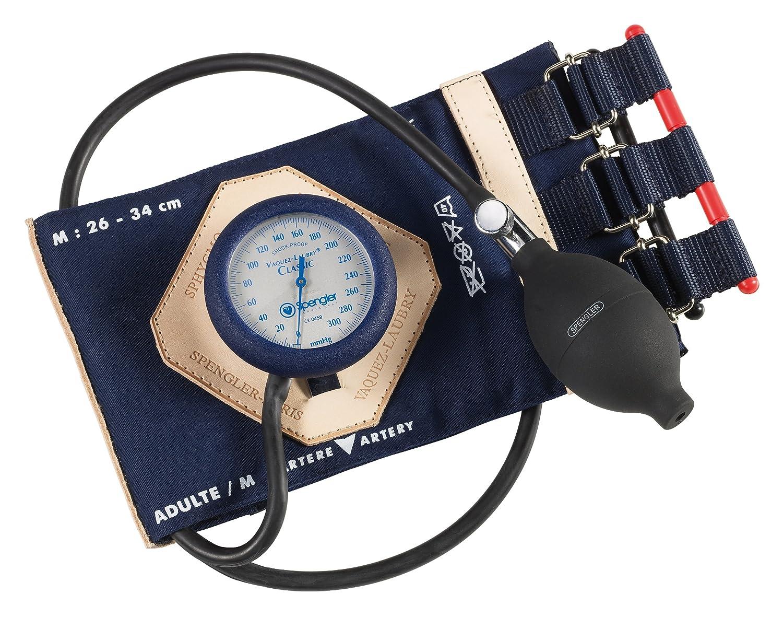 Spengler Vaquez-Laubry Classic - Tensiómetro con brazalete para adultos (con correas, algodón, talla M), color azul marino: Amazon.es: Industria, ...
