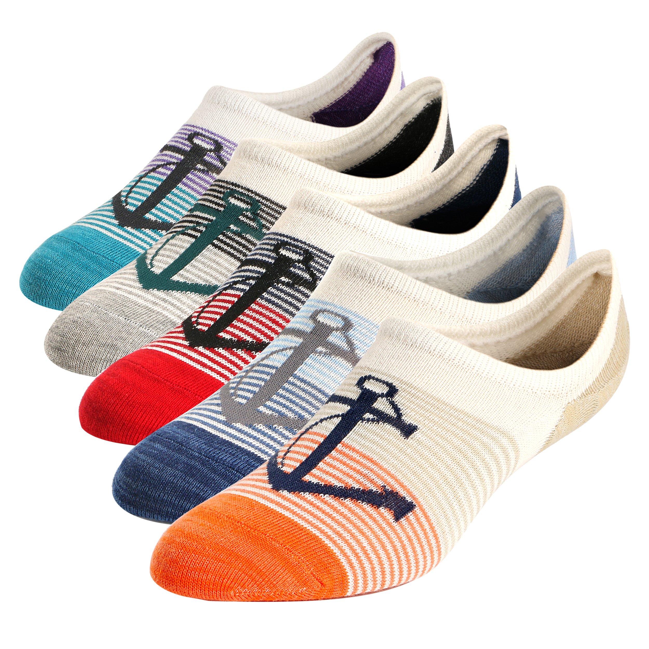 Mens No Show Low Cut Ankle Socks Non-Slip Ventilation Deodorant Boat Anchor Cotton Socks 5Pack