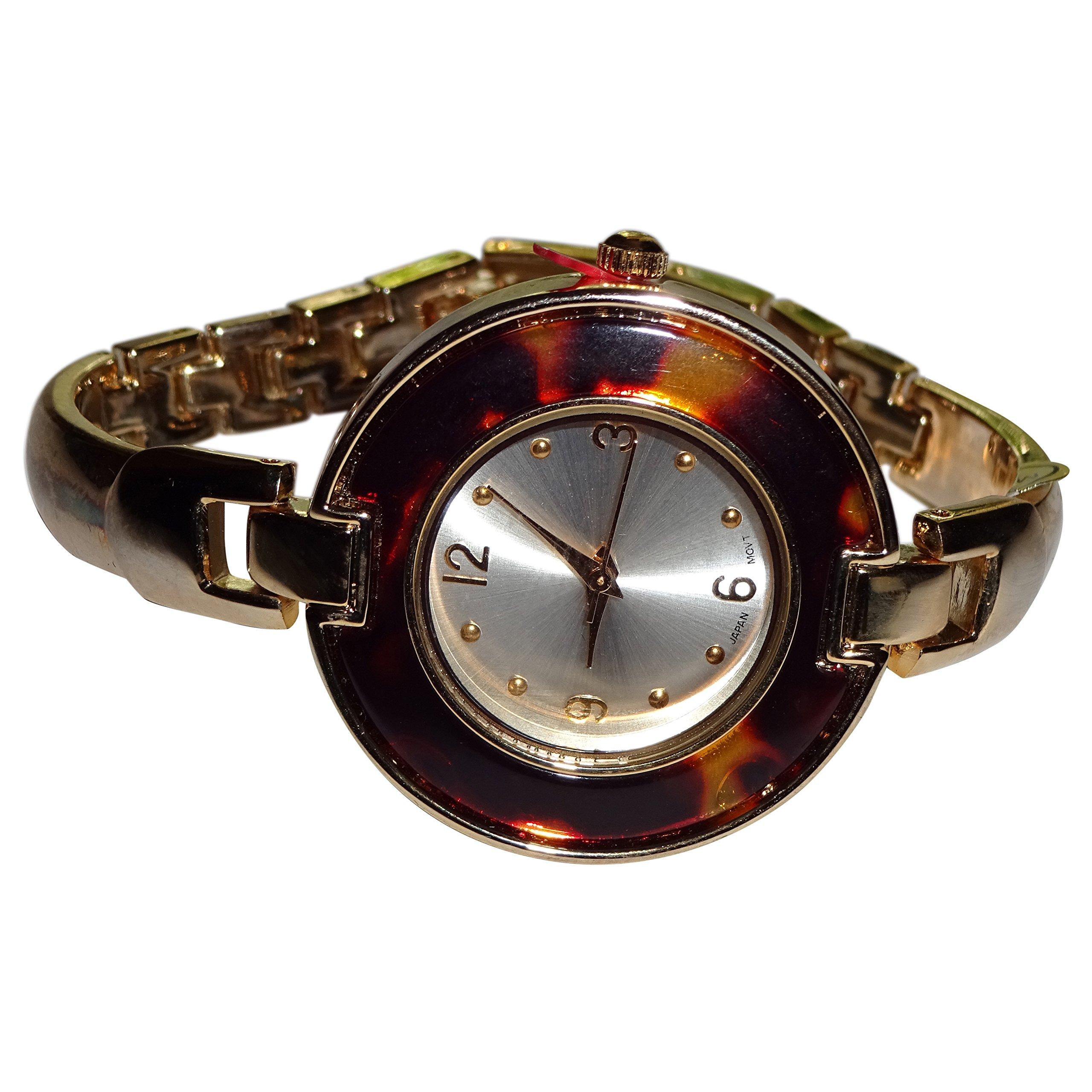 New Women's Gold Tone Link Quartz Wristwatch W/Lucite Bezel J.F. Collections