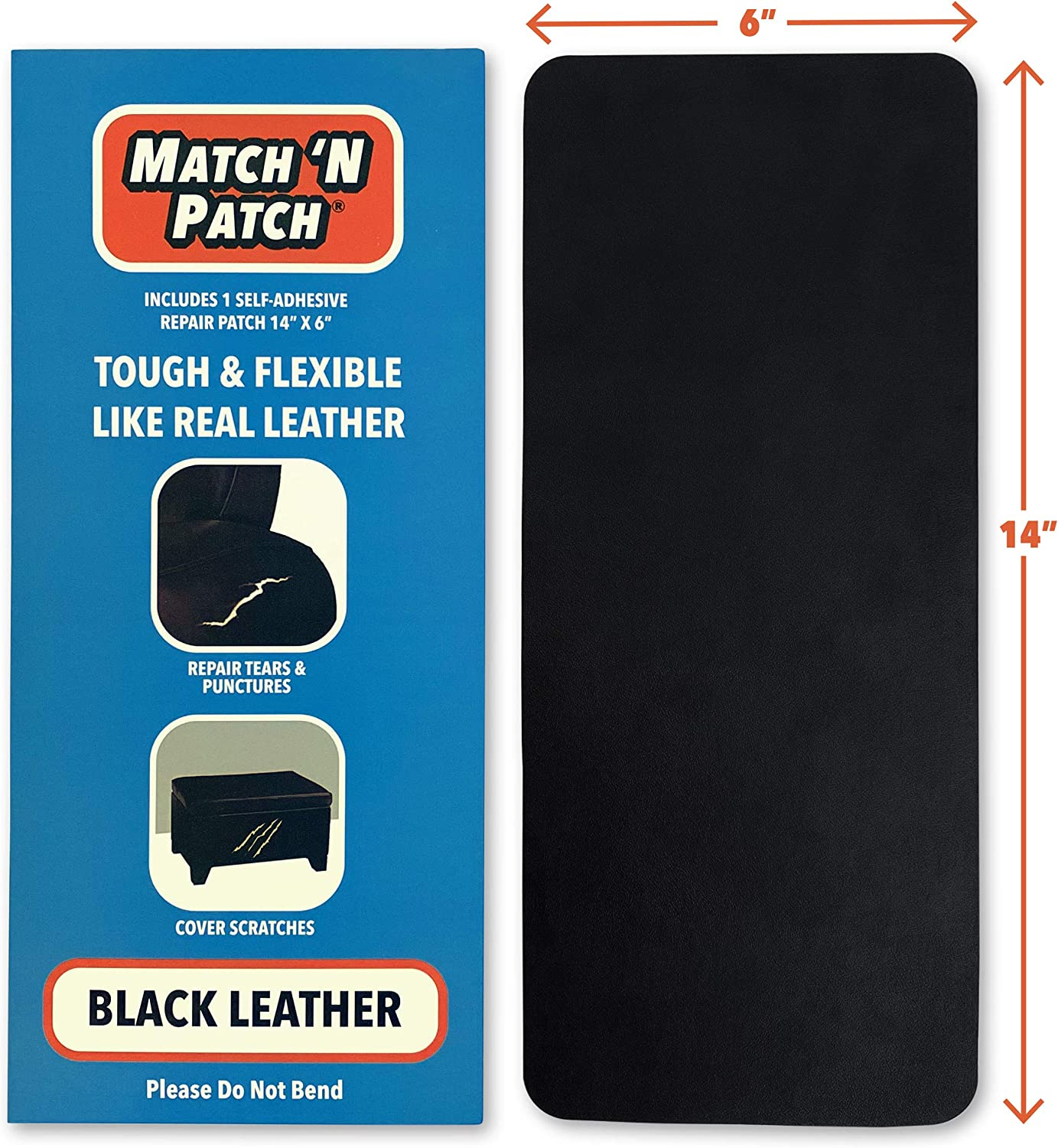Match 'N Patch Realistic Black Leather Repair Patch