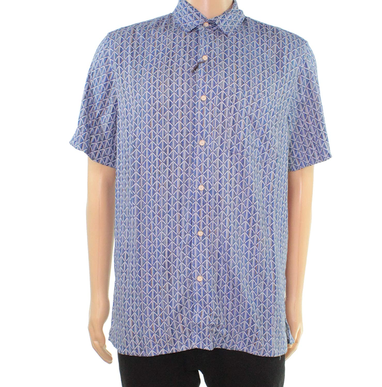 Tasso Elba Mens Paisley Print Button Down Shirt Blues