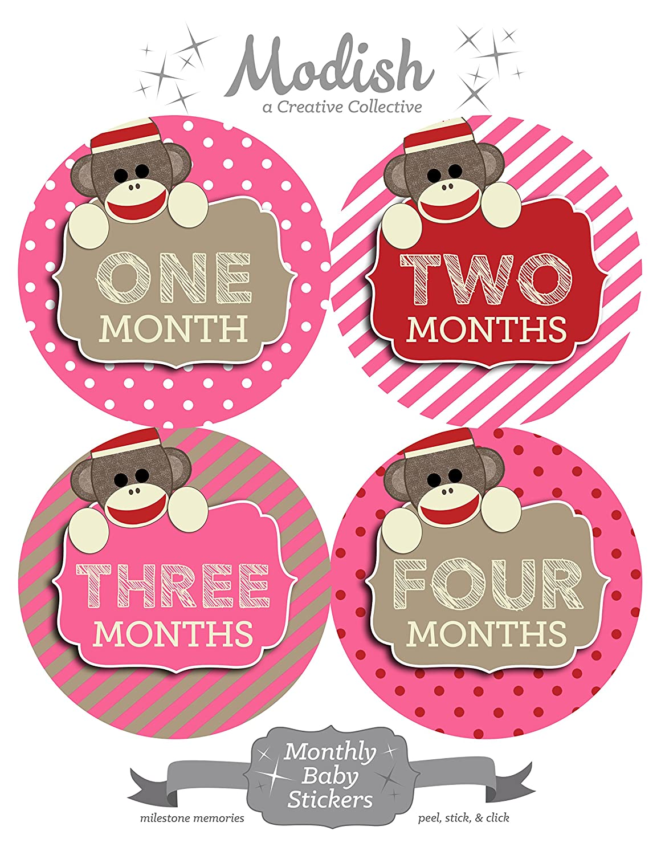 【サイズ交換OK】 12 Monthly Baby Stickers, Sock Monkey, by Pink, Modish Girl, Stickers Baby Belly Stickers, Baby Month Stickers, First Year Stickers Months 1-12 by Modish - Creative Collective B00XGXBLBU, 庄和町:b12490e9 --- mvd.ee