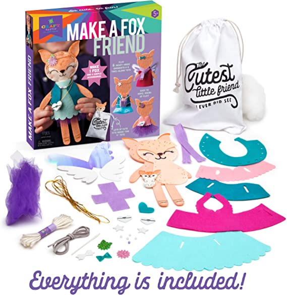Make A Fox Friend Craft Kit Makes 1 Easy-to-Sew Stuffie with Clothes /& Accessories Craft-tastic