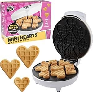 Mini Hearts Waffle Maker - Create 9 Heart Shaped Waffles or Pancakes with Electric, Nonstick Waffler Iron - Great For Valentine's Day Breakfast or Cute Gift