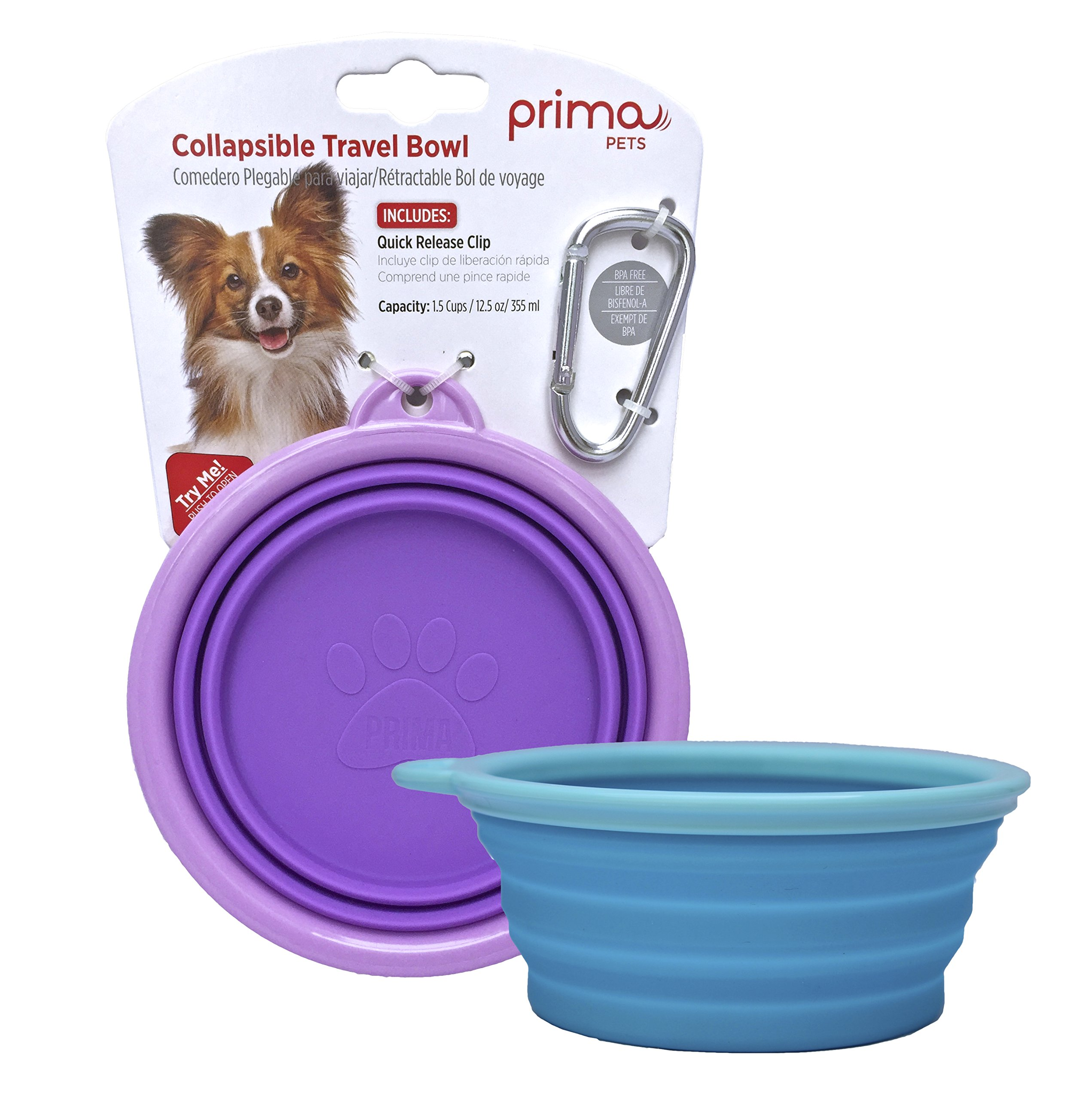 Prima Pet Collapsible Silicone Water Travel Bowl with Clip for Dog and Cat, Portable and Durable Pop-up Feeder for Convenient On-the-go Feeding – Size: SMALL (1.5 Cups) – 2 PACK AQUA & PURPLE