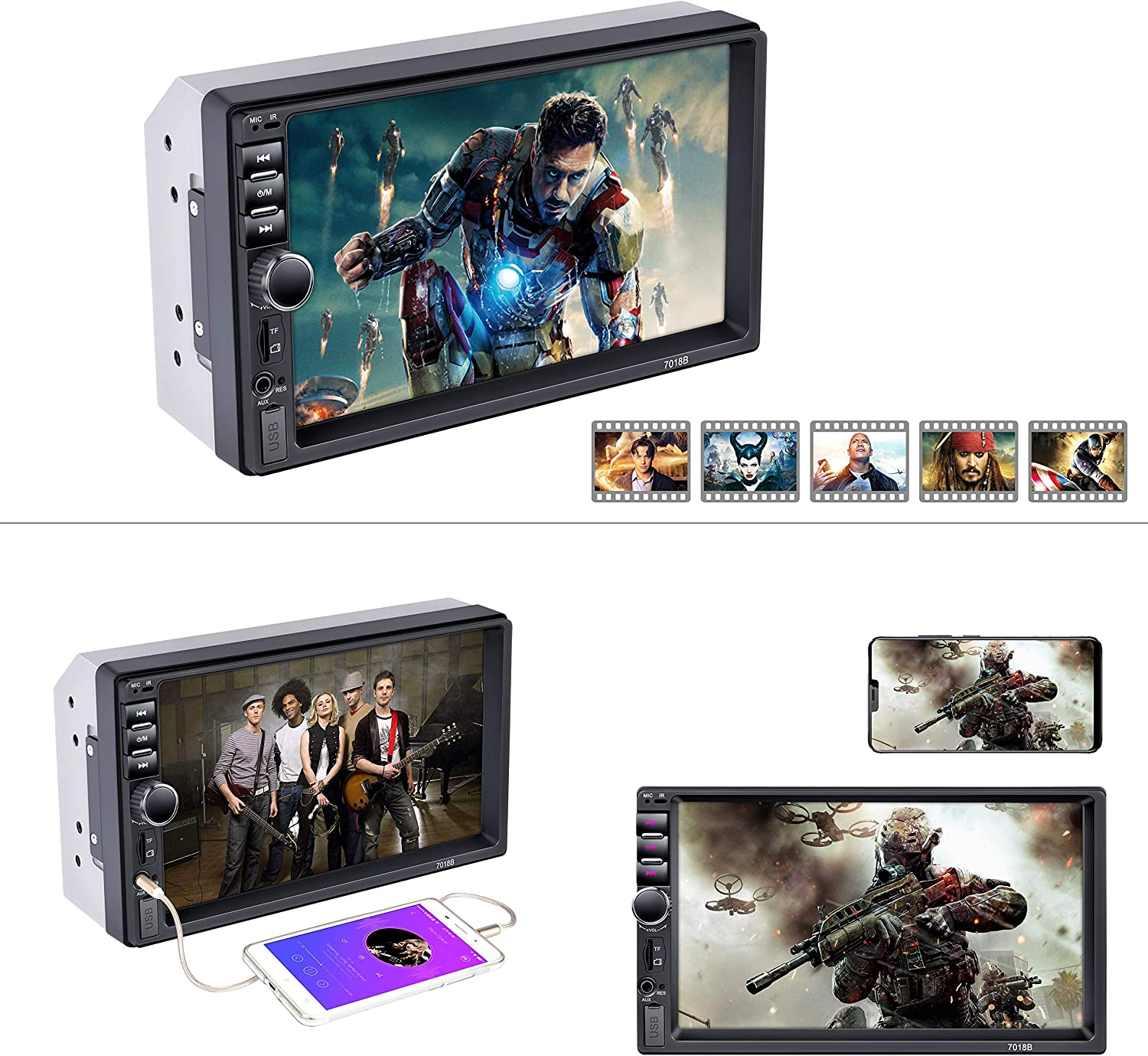 with Rear View Camera External Microphone Wireless Remote Control LSLYA Car Stereo Bluetooth Radio 2DIN Digital Capacitive Touch Screen MP3 MP5 HD Player FM//AUX in//USB//TF Card