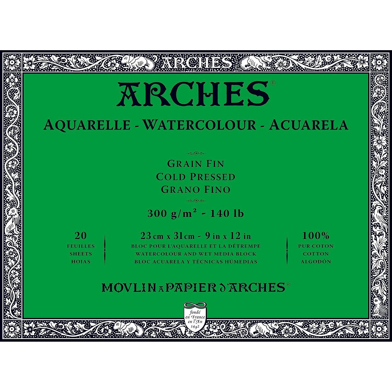 """Arches Watercolor Paper Block, Cold Press, 9"""" x 12"""", 140 pound"""