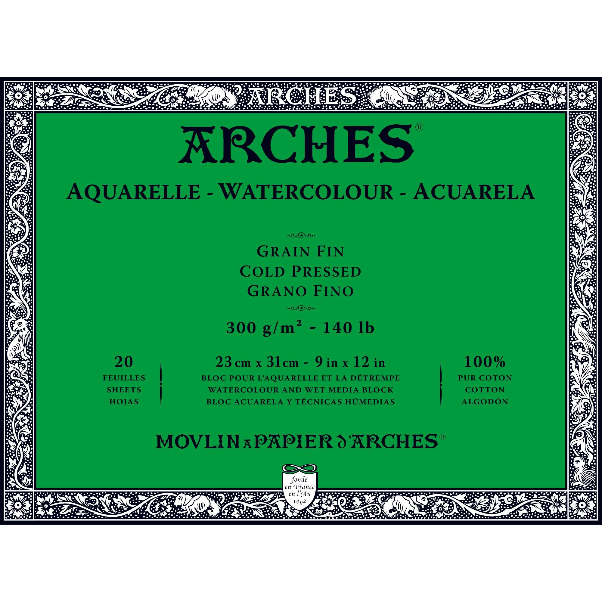Arches Watercolor Paper Block, Cold Press, 9'' x 12'', 140 pound by Arches