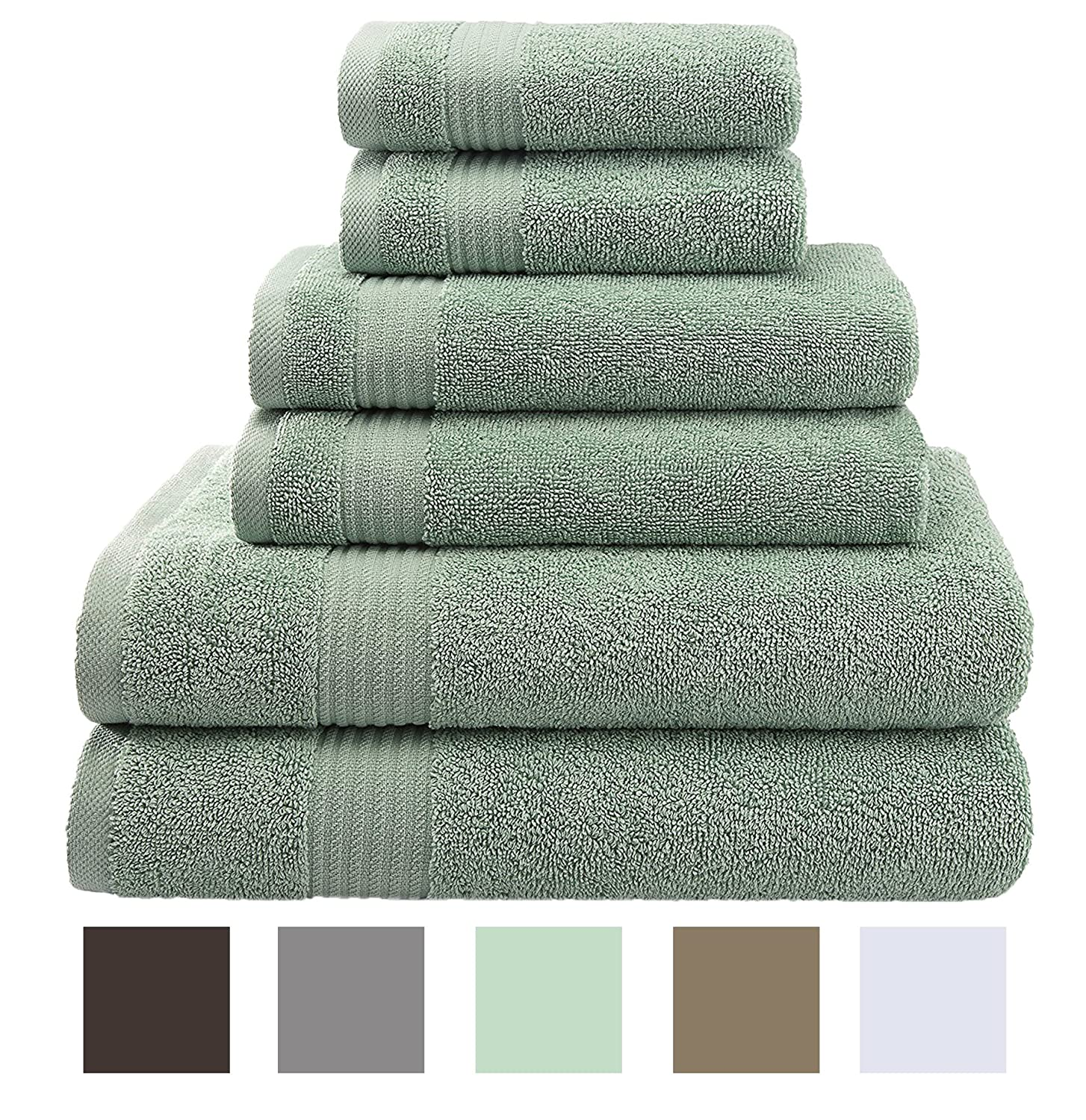 Premium, Luxury Hotel & Spa, Turkish Towels 100% Cotton 6-Piece Towel Set Mint Green