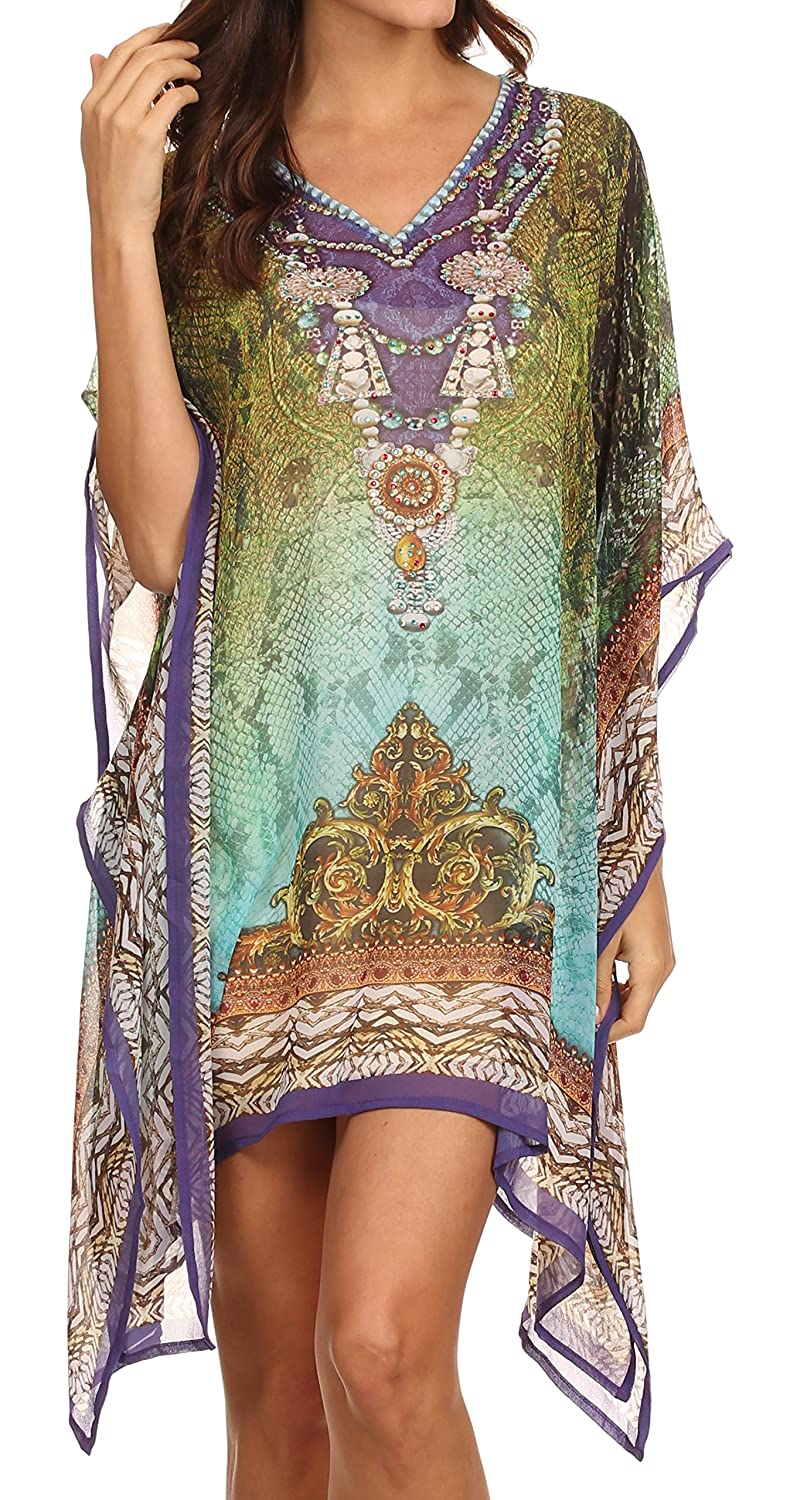 Sakkas Tala Rhinestone Accented Multicolored Sheer Beach Dress / Cover Up 5055861844824