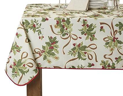 Violet Linen European Seasonal Christmas Ribbons Oblong/Rectangle Tablecloth,  52u0026quot; X 70u0026quot;