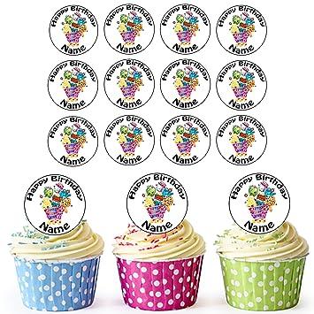 Carrito Shopkins 24 personalizado comestible cupcake toppers/adornos de tarta de cumpleaños - fácil troquelada círculos: Amazon.es: Hogar
